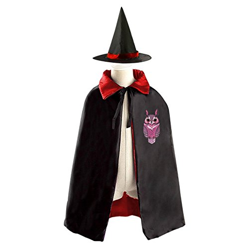 Purple Owl Witch Cloak Reversible Cosplay Costume Satin Cape Boys Girls Purple