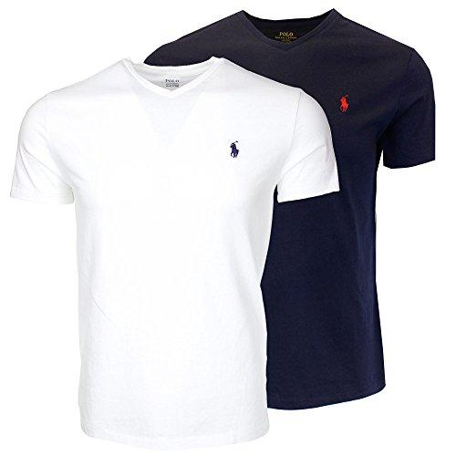 Polo Ralph Lauren Men's V-Neck T-shirt Bundle 2016 model (2pk) (Small, White/Navy)