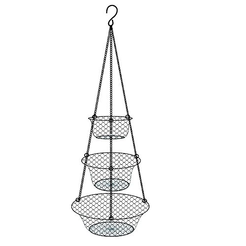 3-Tier Hanging Basket Made of Metal Wire for Storage of Fruits or Vegetables, Kitchen or Home Storage Hanging Accessories, Black