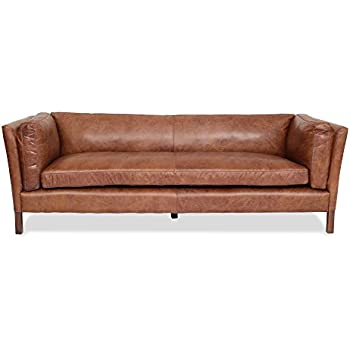 Bon Modern Leather Sofa By Edloe Finch   Mid Century Modern Couch   Top Grain  Brazilian Sofa