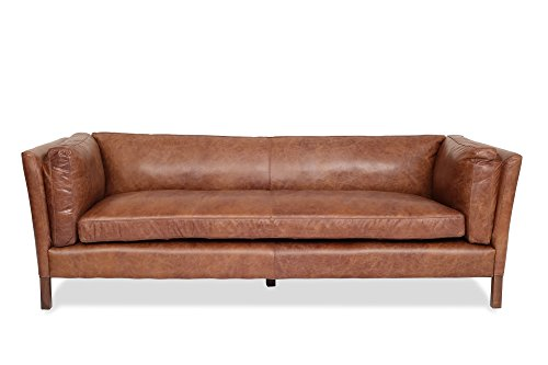 Edloe Finch Modern Leather Sofa – Mid Century Modern Couch – Top Grain Brazilian Leather – Cognac Brown For Sale