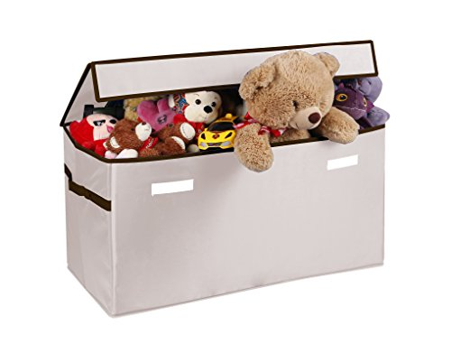 Prorighty Collapsible Toy Chest for Kids (XX-Large) Storage Basket w/Flip-Top Lid | Toys Organizer Bin for Bedrooms, Closets, Child Nursery | Store Stuffed Animals, Games, Clothes (Beige)