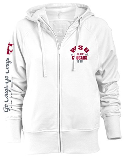 Camp David NCAA Washington State Cougars Slouch Fit Full Zip Hood, White, Medium