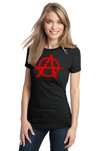 ANARCHY DISTRESSED SYMBOL Ladies' T-shirt / Anarchist, Punk, Riot, Disorder Tee