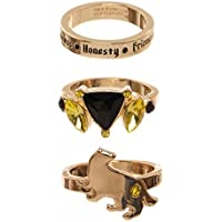 Harry Potter Houses 3 Pack Jeweled Ring Set in Gift Box Gryffindor Huffelpuff Slytherin Ravenclaw (HuffelPuff)