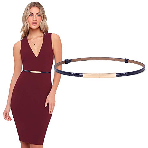 JASGOOD Women's Skinny Leather Belt Adjustable Slim Waist Belt with Gold Buckle for Dress(Blue,Waist Size 24-38Inch)