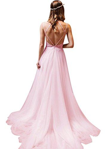 a7e746d2bb76 XJLY A Line Spaghetti Strap Criss-Cross Lace Beach Boho Wedding Dresses  with Belt