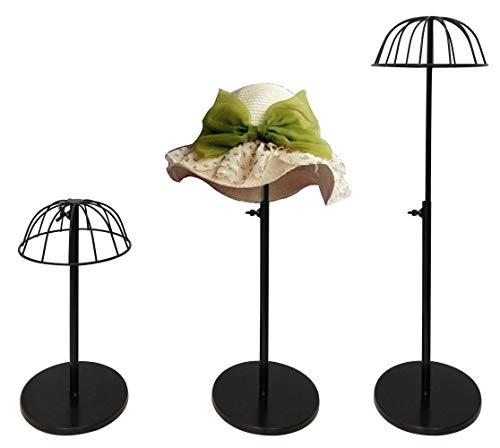 Queens 3 Pack Black Adjustable Height Hat Stand Organizer Metal Dome Shape Design Hat Rack Tabletop Wig Display Rack