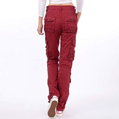 Moda Shorts Mujer Cómodo Cintura Elástico Pantalón Sólido Mujeres Casual Pantalones Cortos de Cintura Media Vino Rojo