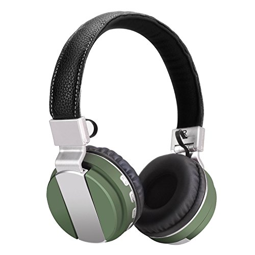 Riwbox Bluetooth Headset WT-06 Wireless Foldable Headphones 4.0 with Microphone TF Card FM Radio Rechargeable Battery for Most Phones Tablets and All Bluetooth Enabled Devices (green)