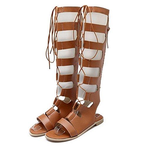 TAOFFEN Women Flat Gladiator Sandals Yellow OJGFBmMg