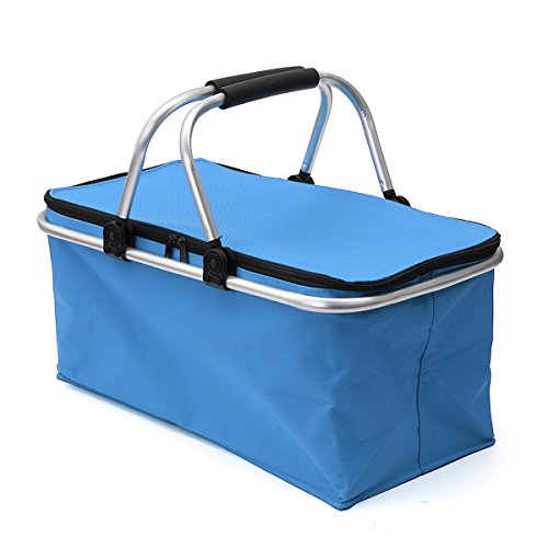 KINGSO 30L Insulated Folding Collapsible Market Picnic Basket Protoble Cooler Bag with Handles and Zipper for Outdoor Camping Hiking Fishing Blue by KINGSO