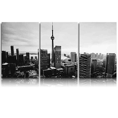 3 Pieces Canvas Print Wall Art for Office/Livingroom/Bedroom Black and White,Toronto City Buildings Landscape Stretched and Framed Modern Giclee Artwork Wall Decor 12x20inx3 -