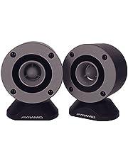"300 Watt Marine Tweeter Speaker - 3.75"" Aluminum Bullet Horn w/ 1"" Titanium Dome Tweeter, 2k-25kHz Frequency Response, 4 Ohm Impedance, Heavy Duty 20 Oz. Magnet Structure - Pyramid TW28 (Pair)"