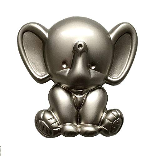 Elephant Knob Kids Drawer Pull Dresser Knob Pull Handles Cabinet Knob Brushed Nickel Knobs Hardware ()