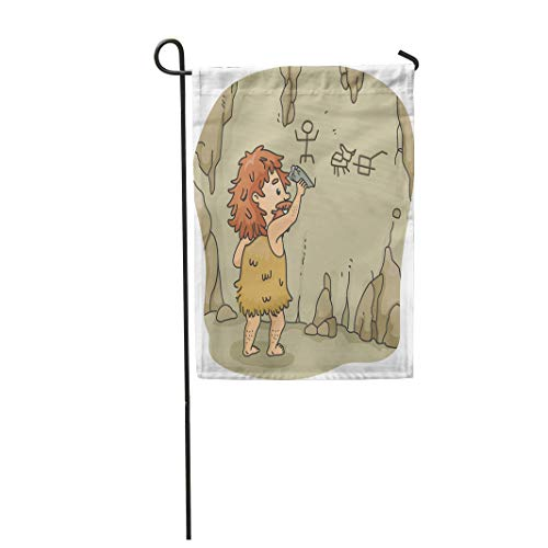 Tarolo Decoration Flag Cartoon of Caveman Etching Figures Walls Cave Using Piece Stone Prehistoric Adult Thick Fabric Double Sided Home Garden Flag 12