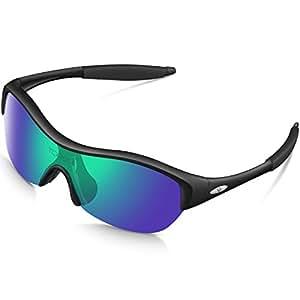 TOREGE Tr90 Flexible Kids Sports Sunglasses Polarized Glasses for Junior Boys Girls Age 3-15 Trk001 (Black&Green lens)