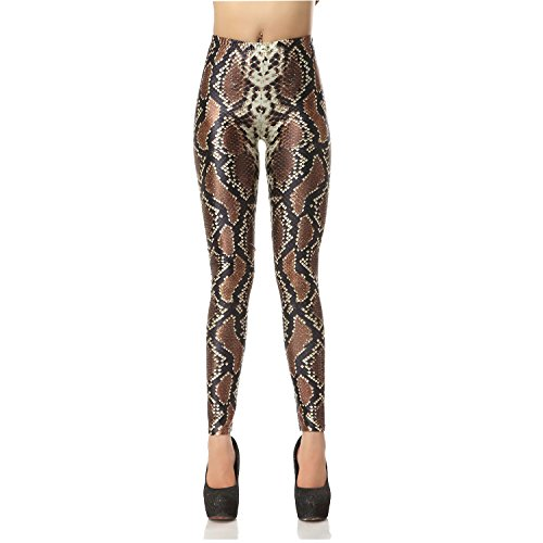 Women's Fashion Digital Print Fadeless Colorful Stretch Leggings Ankle Length Tight Pants (L, Snake skin) ()