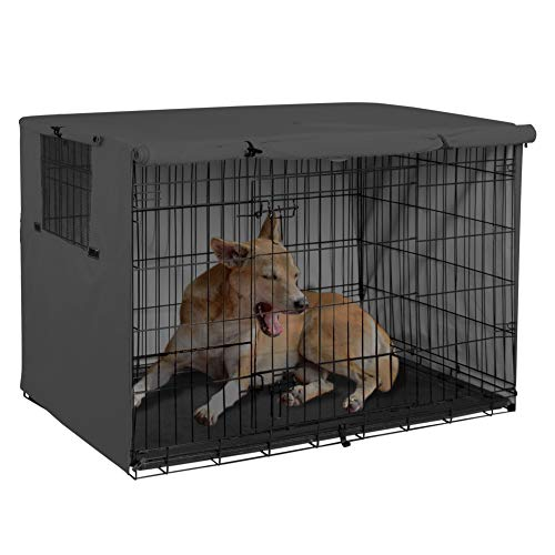 Explore Land 48 inches Dog Crate Cover - Durable Polyester Pet Kennel Cover Universal Fit for Wire Dog Crate (Black)