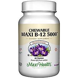 Maxi Health Chewable Vitamin B-12 - 5000 mcg - Energy Booster - Berry Flavor - 60 Chewies - Kosher