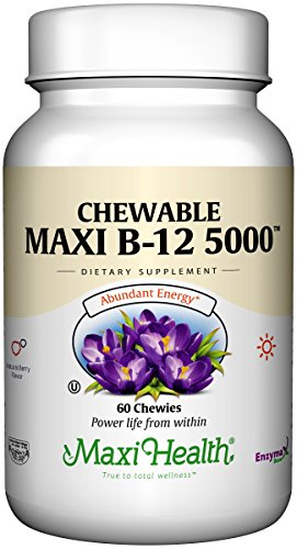 Maxi Health Chewable Vitamin B-12 - 5000 mcg - Energy Booster - Berry Flavor - 60 Chewies - (Kosher Chewable)