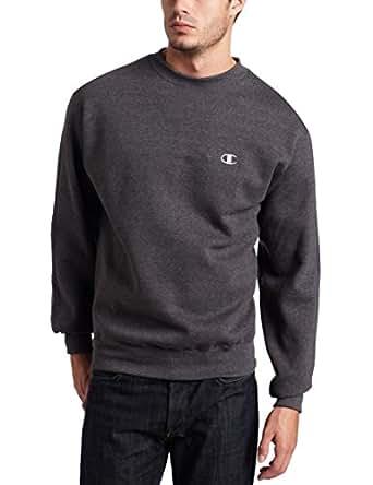Champion Men's Pullover Eco Fleece Sweatshirt, Granite Heather, Small