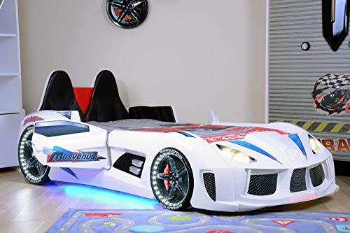 WonderSleep LED Lights Sounds Car Kids Bed White (Race Car Bed Twin Size)