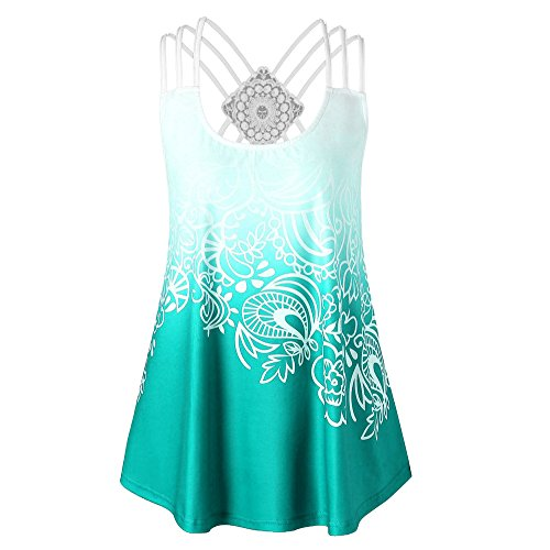 In Sweater Cut Beaded (HGWXX7 Women Loose Solid Cross Bandages Sleeveless Casual Blouse Vest Tank Tops (M, X-Green))