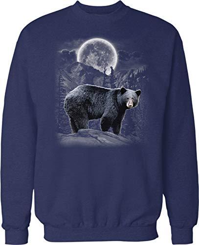 Hoodteez Black Bear, Moon, Mountains Crew Neck Sweatshirt, XL ()