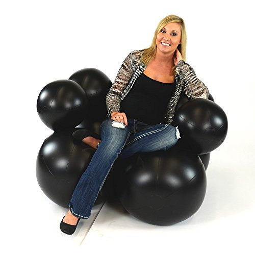 Inflatable Bubble Chair (Black) - Great for Camping, Game Rooms, Video Gaming and More (Bubble Ball Chair)
