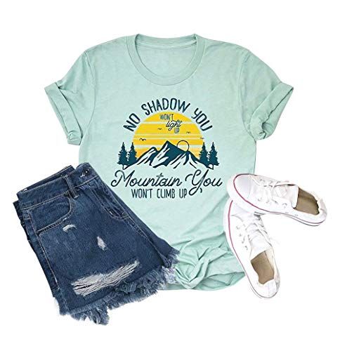 - No Shadow You Won't Light Up T-Shirt Women Funny Letter Printed Short Sleeve Christian Shirts Sky-Blue