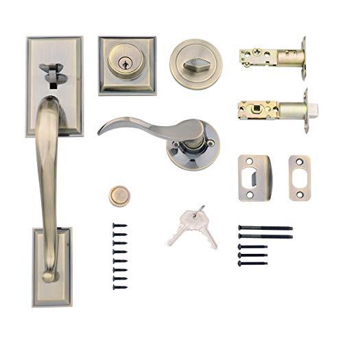 AmazonBasics Modern Door Handle and Deadbolt Lock Set, Right-Hand Wave Door Lever, Antique Brass