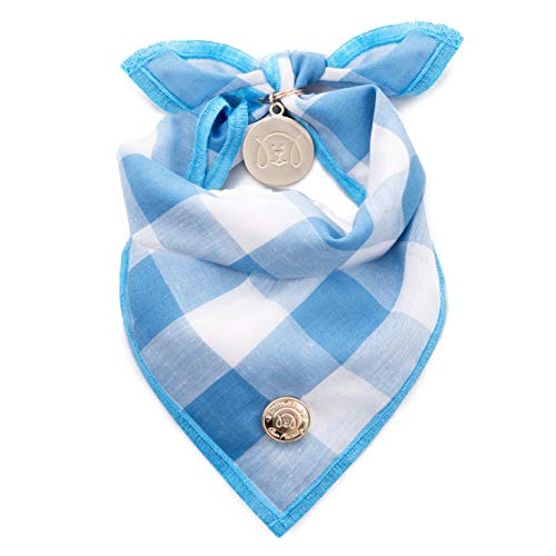 United Pups Designer Bandana Collection for Dogs (Blue Gingham, Small)