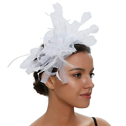 Sinamay Vintage Women Fascinators Derby Hat Feather with Headband Cocktail Headpiece for Tea Party Wedding (One Size, White) -