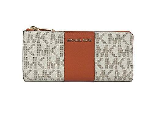 Michael Kors Center Stripe JST LG Three Quarter Zip Wallet (Vanilla/Tangerine …)