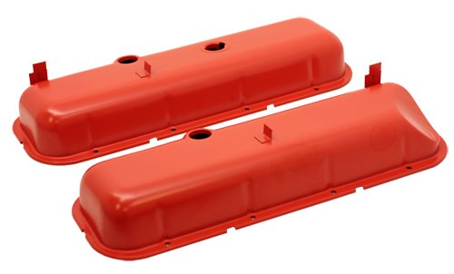 1965-72 Chevy Big Block 396-427-454 Tall OEM Style (Recessed Corner) Steel Valve Covers - Orange