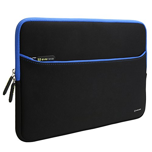 Evecase 14-Inch Ultra-Slim Neoprene Padded Sleeve Case Bag w/ Accessory Pocket for Tablet Laptop Notebook Ultrabook Chromebook Computer (Black and Blue Trim) (Laptop & Tablet Computer Accessories)