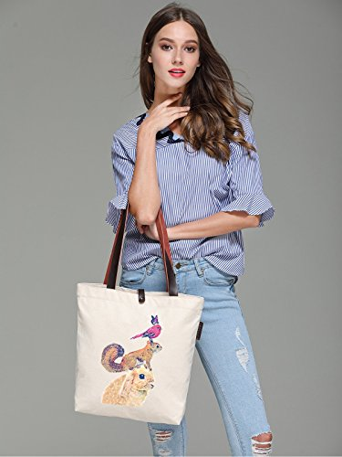 Soeach Womens Tote Graphic Squirrel Rabbit Handbag Bag Bird Shoulder Canvas rr7qd