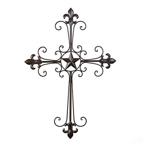 Vanda6549 Iron Religious Hanging Lone Star Christian Wall Cross Holy Crucifix Large 24