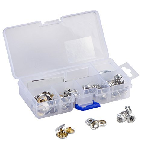 YMAISS 60pcs Fastener Screw Snaps kit in Box, Marine Grade 3/8Socket with Stainless Steel 5/8Screw with 2pcs Setting Tools,Upholstery Snaps for Boat Canvas,Cover.