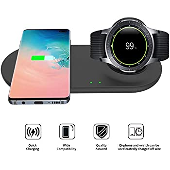 EloBeth Compatible with Samsung Wireless Charger Duo Fast Charging Stand Qi Phones & Galaxy Watch 42mm 46mm Active/Active 2 Wireless Charger (No Adapter)