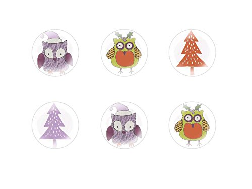 6pcs x 25mm Handmade Round Domed Czech Glass Cabochons Cute Christmas Owls Halloween S1T77 - Cute Halloween Comments