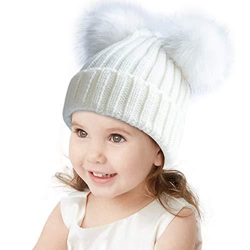 Kids Faux Raccoon Fur Ball Winter Bobble Hat Knitted Double Pom Pom Ears Cap Kids Beanie Hat(Ages 3-8)