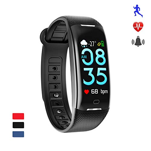 AGO Fitness Tracker, Smart Activity Watch Waterproof Smart Bracelet with Step Counter, Calorie Counter, GPS, Heart Rate Monitor, Pedometer for iOS and Android(Black)