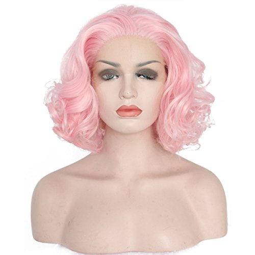 [Ebingoo Pink Synthetic Lace Front Wig Chic Curly Short Bob Heat Resistant Fiber Full Wigs Hair for Women] (Chic Wig In Blonde)