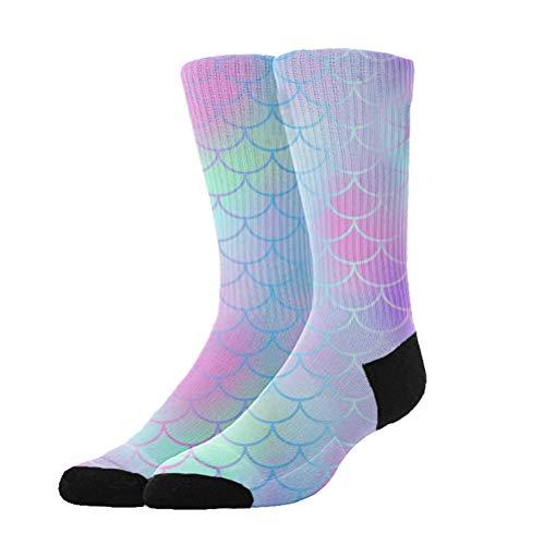 Jinkela Womens Thigh High Cotton Socks Colourful Fish Scale Magic Mermaid Tail Tube Stockings Above Knee Cosplay Socks ()