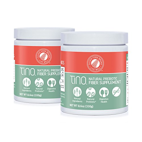 Tino High Fiber Supplement Powder - Non-GMO, Pre-Biotic, Water Soluble, Digestive Friendly, Powdered Mix - Add to Water, Juice, Shakes, Cereal & More (2 Cannisters - 11.6 Oz. ea.) ()