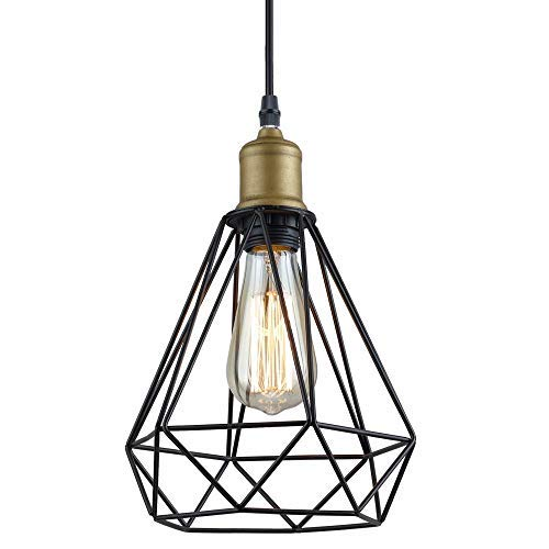 Color Story Kitchen Island - Create for Life Vintage Industrial Polygon Wire Pendant Light Art Deco,Metal Ceiling Light Hanging Light Fixture for Kitchen Island Dining Table Bedroom Hallway