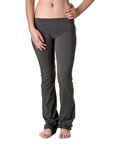 (Slimming Rollover Bootleg Yoga Comfy Pants (Large, Charcoal))