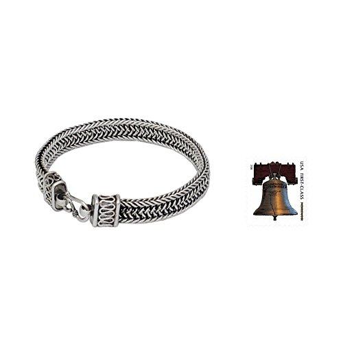 NOVICA .925 Sterling Silver Men's Woven Chain Bracelet, 8.5'', 'Kingdom' by NOVICA (Image #1)